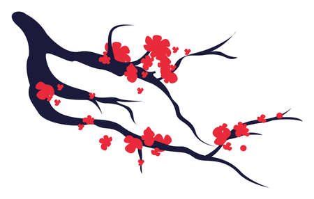 Blooming tree, illustration, vector on white background.