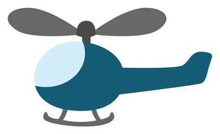 Blue helicopter, illustration, vector on white background.
