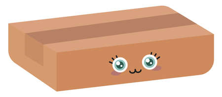 Cute box, illustration, vector on white background.