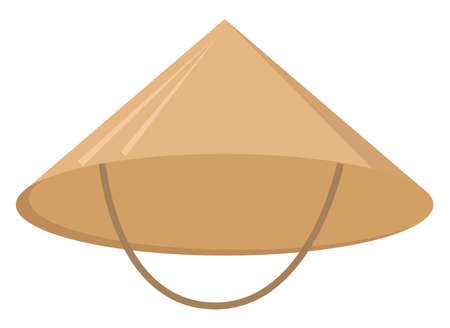 Chinese hat, illustration, vector on white background.