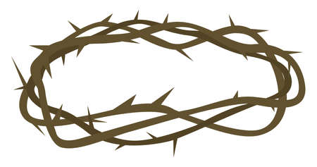 Crown of thorns, illustration, vector on white background.