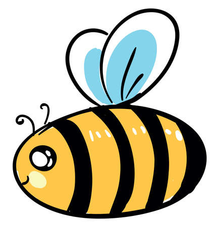 Fat bee, illustration, vector on white background. 向量圖像