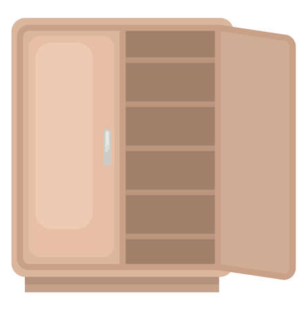 Brown cupboard, illustration, vector on white background.