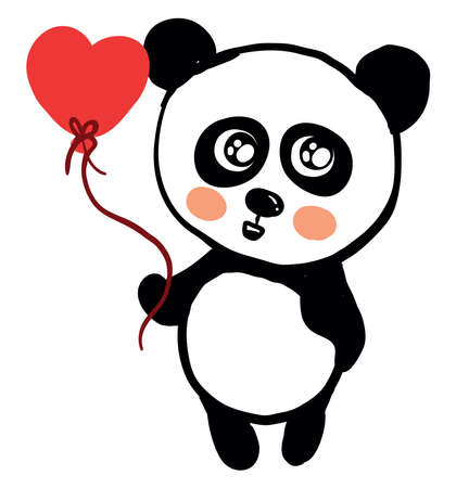 Panda with balloon, illustration, vector on white background.