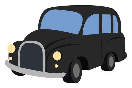 Black car, illustration, vector on white background.