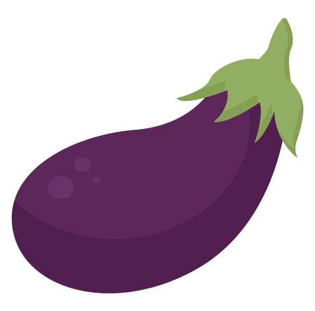 Flat eggplant, illustration, vector on white background.