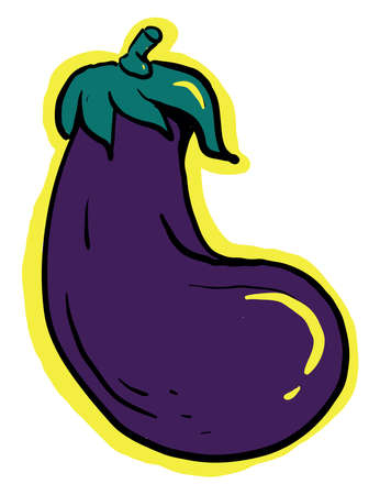 Interesting eggplant, illustration, vector on white background.