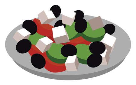 Greek salad, illustration, vector on white background. Иллюстрация