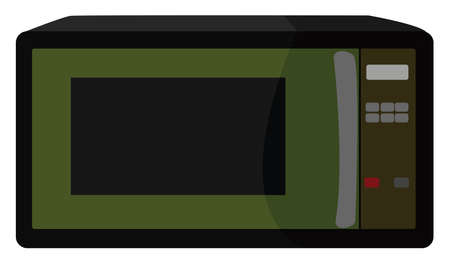 Green microwave, illustration, vector on white background. Banque d'images - 152560477