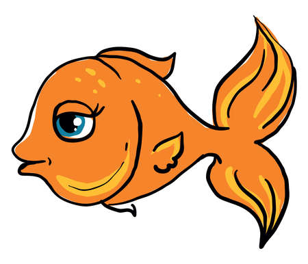 Happy gold fish, illustration, vector on white background. Illusztráció