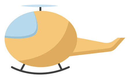 Yellow copter, illustration, vector on white background.