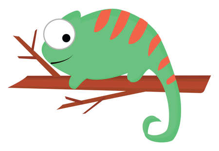 Cameleon on tree, illustration, vector on white background.  イラスト・ベクター素材
