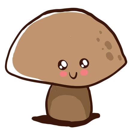 Cute mushroom, illustration, vector on white background.
