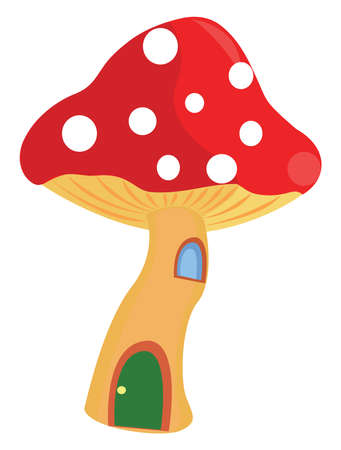 Mushroom house, illustration, vector on white background.