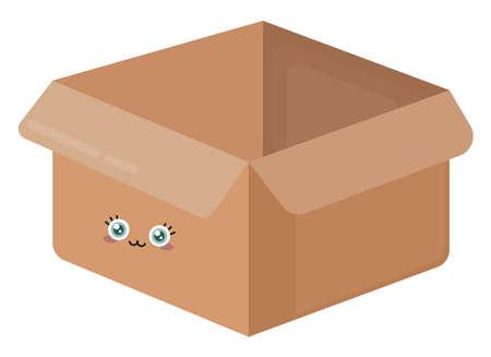 Empty box, illustration, vector on white background.