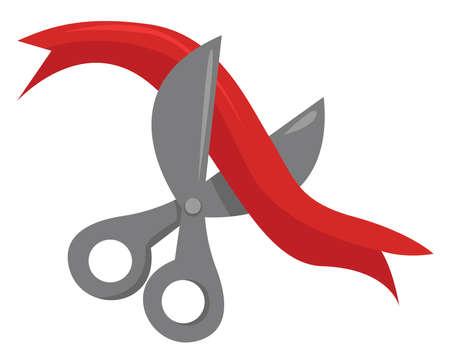 Red ribbon and scissors, illustration, vector on white background. Illusztráció