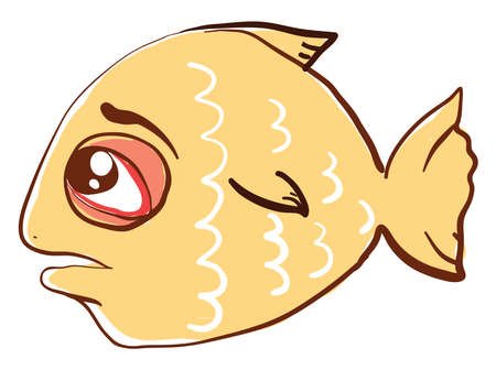 Sad yellow fish, illustration, vector on white background.