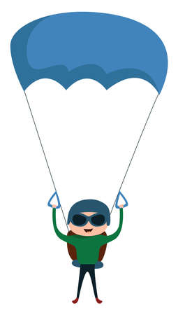 Landing with Parachute, illustration, vector on white background. Illustration