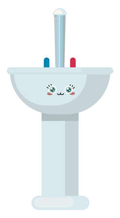Cute small sink, illustration, vector on white background. Vecteurs