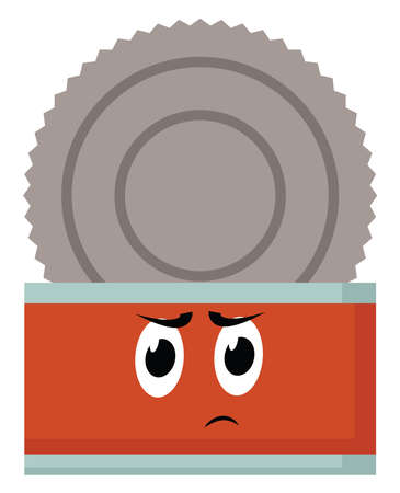 Angry can of food, illustration, vector on white background.