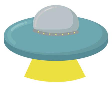 Flying UFO, illustration, vector on white background.