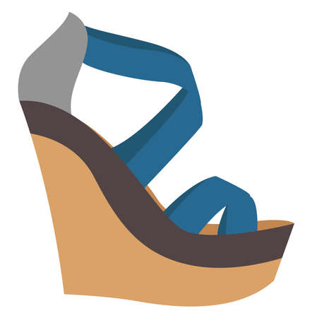 Wedge shoes, illustration, vector on white background. 矢量图像