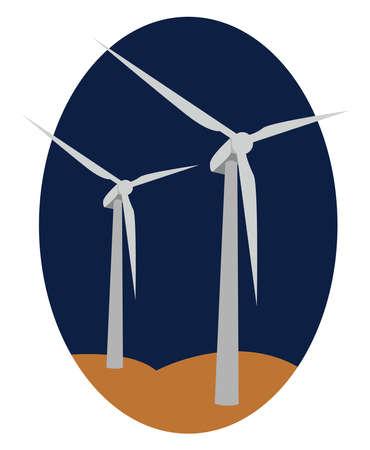Wind power, illustration, vector on white background.