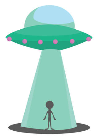 Alien with UFO, illustration, vector on white background Stock fotó - 152561436