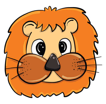 Lions head, illustration, vector on white background