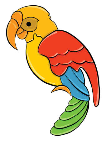Colorful parrot, illustration, vector on white background