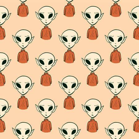 Aliens pattern, illustration, vector on white background Illusztráció