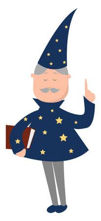 Magician man, illustration, vector on white background Illusztráció