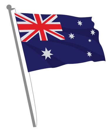 Australian flag, illustration, vector on white background