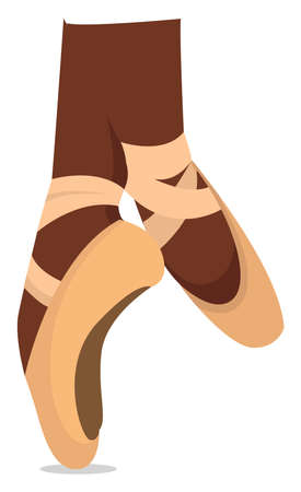 Ballet foot, illustration, vector on white background Vettoriali