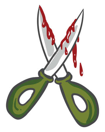 Bloody scissors, illustration, vector on white background
