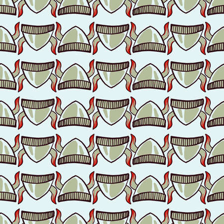 Vikings hat pattern, illustration, vector on white background