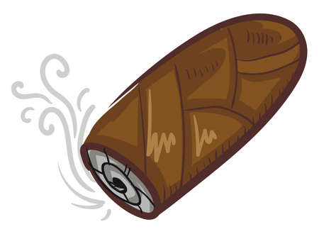 Brown cigar flat, illustration, vector on white background Stock Illustratie