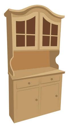 Brown buffet, illustration, vector on white background Ilustração