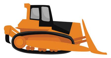 Orange bulldozer, illustration, vector on white background