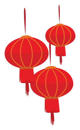 Chinese new year light, illustration, vector on white background