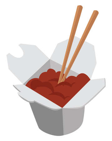 Chinese food, illustration, vector on white background Vettoriali