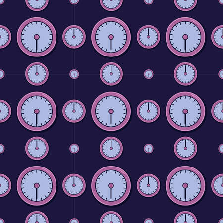 Clocks pattern, illustration, vector on white background
