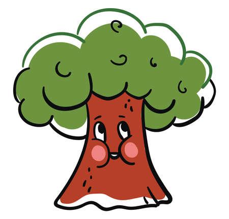 Happy tree, illustration, vector on white background Ilustração