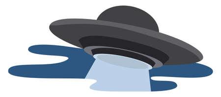 Flying UFO, illustration, vector on white background