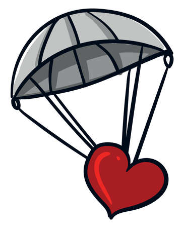 Grey parachute, illustration, vector on white background