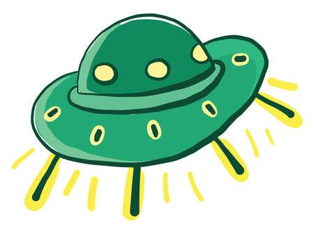 Green UFO, illustration, vector on white background Vektorgrafik