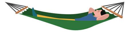 Green hammock, illustration, vector on white background Ilustração