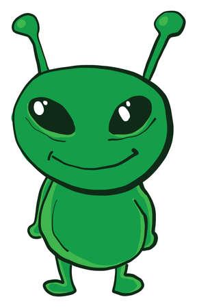 Happy small alien, illustration, vector on white background Illusztráció