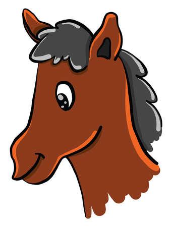 Horse head, illustration, vector on white background