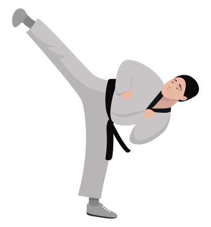 Karate kid, illustration, vector on white background Çizim